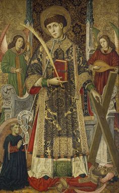 """""""San Vicente, diácono y mártir, con un donante"""", Tomás Giner (1462-1466)"""