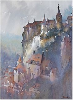 """By Thomas W. Schaller Watercolor ; """"Fading Light-Rocamadour"""" ; 30 inches x 22 inches"""