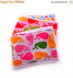 SALE Girl Burp Cloths Pink Green Yellow by Sewingdreamsnotions