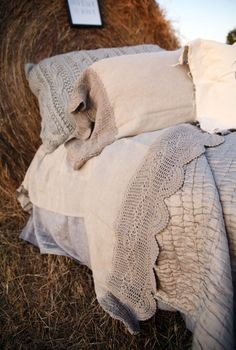 The Lucinda crochet linen sheet set- wheat - Junk GYpSy co.