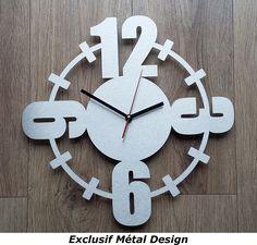 Horloge contemporaine gros chiffres inox : Décorations murales par exclusif-metal-design