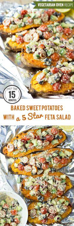 Baked Sweet Potatoes with a Five Star Feta Salad #sweetpotatoes #baked #feta   hurrythefoodup.com
