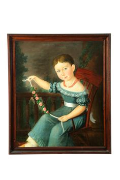 Portrait of young girl American School 2nd Quarter 19th Century Oil on canvas Unsigned  Garths