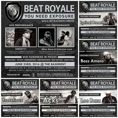 Tonight Beat Royale returns to The Basement for another classic night of good music and fun. This month we have Emcee/Promoter @Shredtvt1 coming to bless the stage. We also have the powerhouse team of @IAmMilesStone and @Unknownlyric all coming to rock out with us.  We have The Beat Faktory @Xthescribe @Ysoseriouzbeatz Boss Amero @LocBarz and @LyricalPreacher all coming to rock the Opening Set sound stage.  This epic night will be hosted by @MICxSIC and @JeffBlactracks doors open to the…
