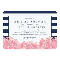 Blush Peony and Navy Stripe Bridal Shower