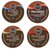 16 Count - Variety Pack of Tully's Coffee K-Cups for Keurig Brewers - Italian Roast, French Roast, House Blend, Hawaiian Blend - http://hotcoffeepods.com/16-count-variety-pack-of-tullys-coffee-k-cups-for-keurig-brewers-italian-roast-french-roast-house-blend-hawaiian-blend/