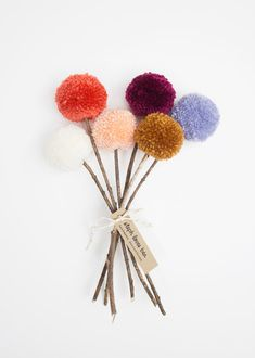 Yarn Pom Pom Flowers Fall Bouquet cream coral by stephlovesben Crafts For Kids To Make, Crafts To Sell, Diy And Crafts, Arts And Crafts, Kids Crafts, Pom Pom Crafts, Flower Crafts, Yarn Crafts, Pom Pom Flowers