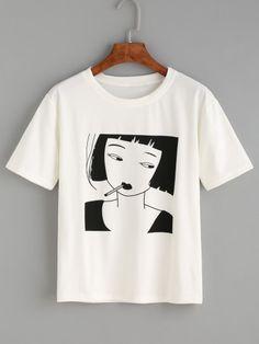 T-shirt motif fille de fumer - blanc