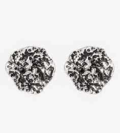 Treasure Spinel Stone Nugget Stud Earrings   Roughed up with an organic texture…