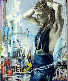Cécile Desserle Woman Painting, Figure Painting, Pictures To Draw, Art Pictures, Street Art, Black Artwork, Cecile, Human Art, Figurative Art