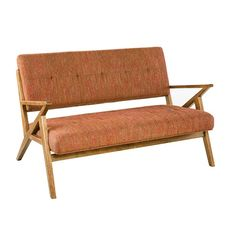 The Rocket loveseat is the perfect update of mid century modern. The refreshing pop of Orange hues add a retro touch as the pecan wood finish creates a natural tone. Inspired by the iconic 60's silhouettes with a modern twist of bronze finishes and unique shapes for an updated look. Assembly required.