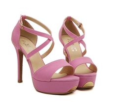 Sexy Cross Belt Fish Mouth High-heeled Sandals-pink on Luulla