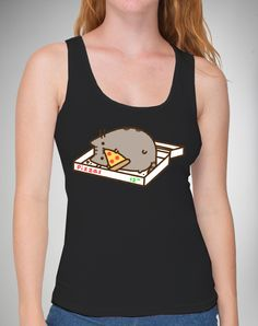 Party points to ME! I just found the Pusheen Pizzabox Black Junior Fitted Tank from Spencer's. Visit their mobile website to get this item and more like it.