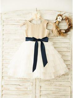 A-Line/Princess Knee-length Flower Girl Dress - Satin/Tulle Sleeveless Scoop Neck With Sash/Bow(s)/V Back