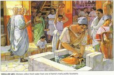 Roman daily life scene with retail trade activity.