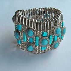 Safety pin and chalk turquoise stretch bracelet