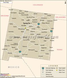 new mexico state map highlighting the state capital counties major cities rail road networks