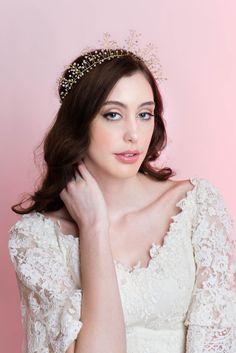 Wedding Hair Accessory Bridal Halo Pearl Crown by MilaKolitsova