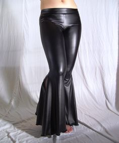 Flare tribal pants  black faux leather latex pvc  by creaturre, $60.00