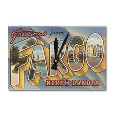 Greetings from Fargo North Dakota Vintage Halftone (Acrylic Wall Clock), Black (Plastic)