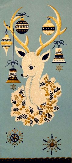 Vintage Christmas Card 50s Mid-Century Glittered White Deer