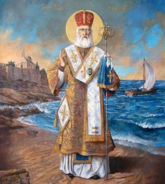 Свети Никола: Његов атрибут су три кесе са новцем, а у његовој близини је насликан и брод.