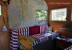 vintage camper interior | She papered the interior of her cocktail cabana with maps ...