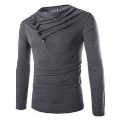 2015 New Arrival Button Design Cool T shirt Men Fashion Solid Color Slim Fit Long Sleeve T-shirt Black Men Tshirt