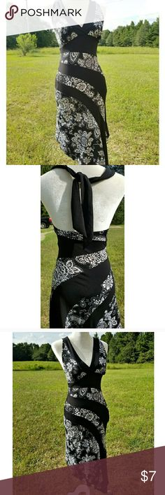 Love Tease Floral Black and White Halter Dress Size small, stretchy, hugs curves beautifully! Gently worn Love Tease Dresses