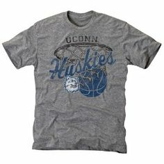 NCAA UConn Huskies Hoop Tri-Blend T-Shirt - Ash by Football Fanatics. $24.95. UConn Huskies Hoop Tri-Blend T-Shirt - Ash50% Cotton/37% Polyester/13% RayonLightweight super soft tri-blend T-shirtDistressed screen print graphicsRib-knit collarImportedVintage fit-sizes run smallerExtremely soft, lightweight feelOfficially licensed collegiate product50% Cotton/37% Polyester/13% RayonLightweight super soft tri-blend T-shirtVintage fit-sizes run smallerDistressed screen pri...