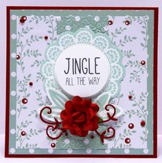 Jingle all the way card for kaisercraft Christmas Cards To Make, Xmas Cards, Christmas Ideas, Jingle All The Way, Beautiful Handmade Cards, Card Tags, Clear Stamps, Card Making, Paper Crafts