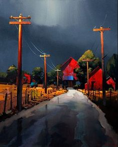 Michael O'Toole.  Acrylic painting.  At the End of the Road.  Acrylic.  24x30 inches