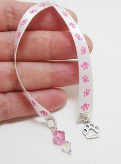 Pink Paw Print Ribbon Bookmark by WhispySnowAngel on Etsy, $5.00