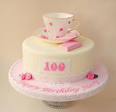 100th birthday, sugar handpainted tea cup cake