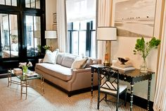 Christina Murphy Interiors | La Dolce Vita. Closet doors flooring drapes.