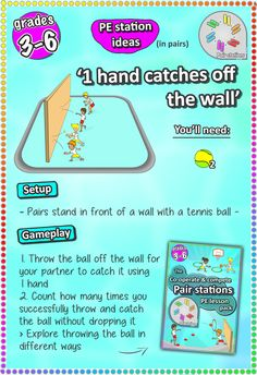 Hand eye co-ordination and catching skills - check out more pe sport station ideas here for grades 3-6