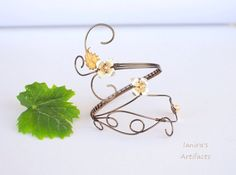 Gunmetal vintage wire wrapped upper arm bracelet cuff door Ianira