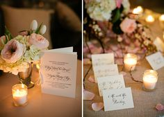 Elegant Pink, White, and Champagne Tennessee Wedding.. LOVE the calligraphy place table cards with rose petals an tea lights.. Simple & Elegant.