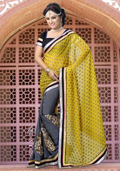 Stone Grey and Yellow Party Wear Saree