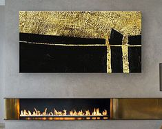 Horizontal Abstract Painting, Large Abstract Painting Art, Large Rectangular Horizontal Canvas Art, Black And Gold Leaf Horizontal Painting