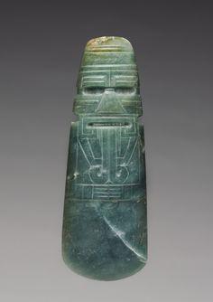 Celt-Shaped Pendant, c. 300 BC - AD 600 Costa Rica, Southern Nicoya region, c. 4th century BC - AD 7th century jadeite