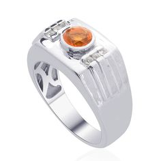 Liquidation Channel | Jalisco Fire Opal and White Zircon Men's Ring in Platinum Overlay Sterling Silver (Nickel Free)