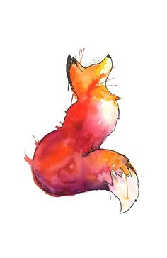 The Fox Drawing and painting with mixed media. Cute Fox Drawing, Cute Animal Drawings, Cute Drawings, Watercolor Fox Tattoos, Watercolor Art, Watercolor Background, Fox Tattoo Design, Fox Design, Tattoo Designs
