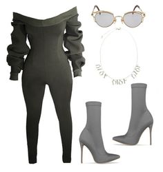 """mountains"" by shanithestylist ❤ liked on Polyvore featuring Jean-Paul Gaultier, Christian Dior, Dior, gray, olivegreen and simmishoes"