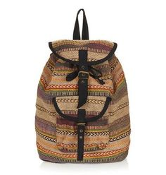 #TopShop Aztec Stripe Backpack. Tribal prints are super trendy and won't disappoint your #BackToSchool Teen. See more cool for school gifts on: http://blog.gifts.com/holidays/7-quirky-back-to-school-supplies-for-teens