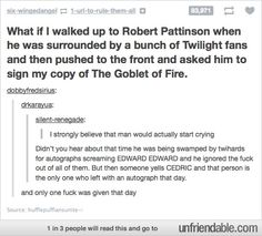 Even Robert hates Twilight hahahha this is so true though! Look at his interviews! I love him so much more now hahaha :)