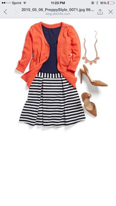 Blue striped skirt. Wear with red cardigan.