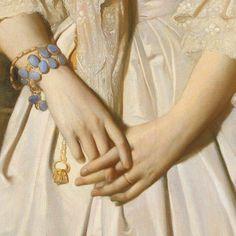 Portrait of Comtesse de La Tour-Maubourg, 1841 (detail) ▪️ Theodore Chassériau Renaissance Paintings, Renaissance Art, Victorian Paintings, Aesthetic Painting, Aesthetic Art, Wallpaper Aesthetic, Victorian Art, Old Paintings, Hand Art