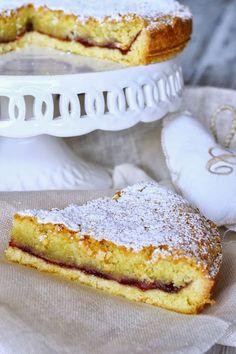 Torta cappuccina (almond and cherry tart) Italian Cake, Italian Desserts, Sweet Recipes, Cake Recipes, Dessert Recipes, Cake Cookies, Cupcakes, Sem Gluten Sem Lactose, Torte Cake