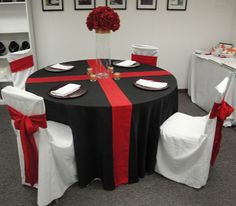 red white wedding table idea - shows white with red chairs.  I like the idea but my colors would be purples.